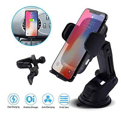Wireless Car Charger FIRBELY Qi Wireless Car Charger Mount 10W Fast Charging Auto Clamping Car Charger Mount Windshield Dashboard Air Vent Car Phone Holder Compatible All Wireless Charging Mobile Phon: Home Audio & Theater