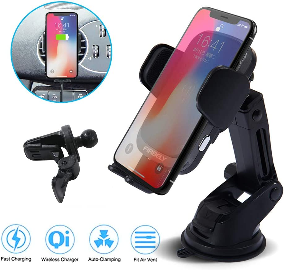 Wireless Car Charger FIRBELY Qi Wireless Car Charger Mount 10W Fast Charging Auto Clamping Car Charger Mount Windshield Dashboard Air Vent Car Phone Holder Compatible All Wireless Charging Mobile Phon