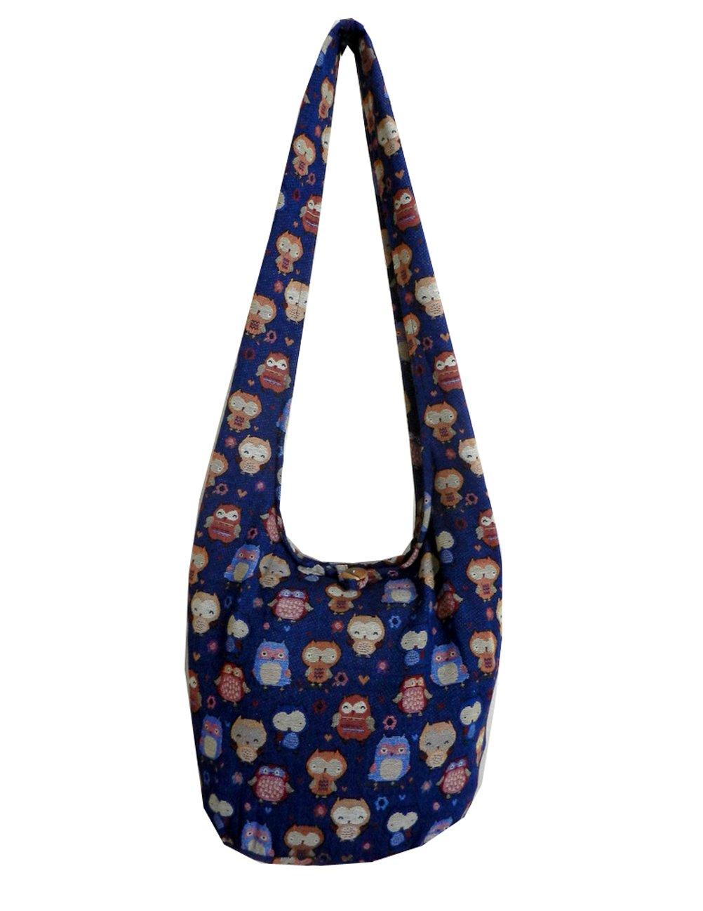 BTP! Owl Hippie Hobo Sling Crossbody Bag Messenger Purse Thai Cotton Large (Blue OL9)