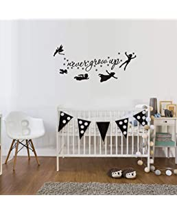 WOVTCP Peter Pan Characters Wall Decals Never Grow Up Quotes Stars Wall Stickers Baby Nursery Room Kids Bedroom Wall Decor
