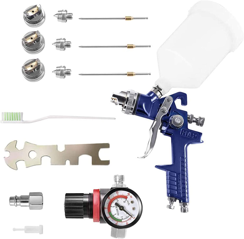 KKTECT HVLP Pistola de pulverización de alta atomización Pistola pulverizadora de reparación pequeña de muebles de coche con regulador de presión de aire Tanque de pintura de 600 cc y 3 boquillas