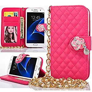 Cartera con flores de strass, piel sintética, Rose Red, For Samsung Galaxy S7 Edge