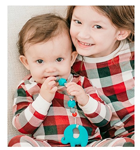Nuby Silicone Teether & Pacifier Holder Combo Pack, Aqua Ele