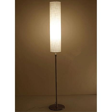 Moderno acero inoxidable Lámpara de pie Fácil cilíndrico lámpara pantalla Salón pie Piso lámpara dormitorio lámpara de pie de altura regulable, E27 ...