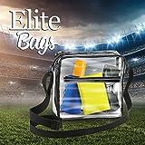 EliteBags Clear Cross Body Messenger Tote Shoulder Bag w Adjustable Strap, NFL Stadium Approved Vinyl Purse, Black Trim