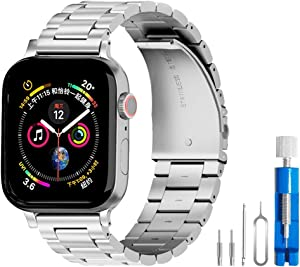 U191U Band Compatible with Apple Watch 38mm 42mm Stainless Steel Wristband Metal Buckle Clasp iWatch 40mm 44mm Strap Replacement Bracelet for Apple Watch Series 4/3/2/1 Sports Edition(Silver, 42MM)