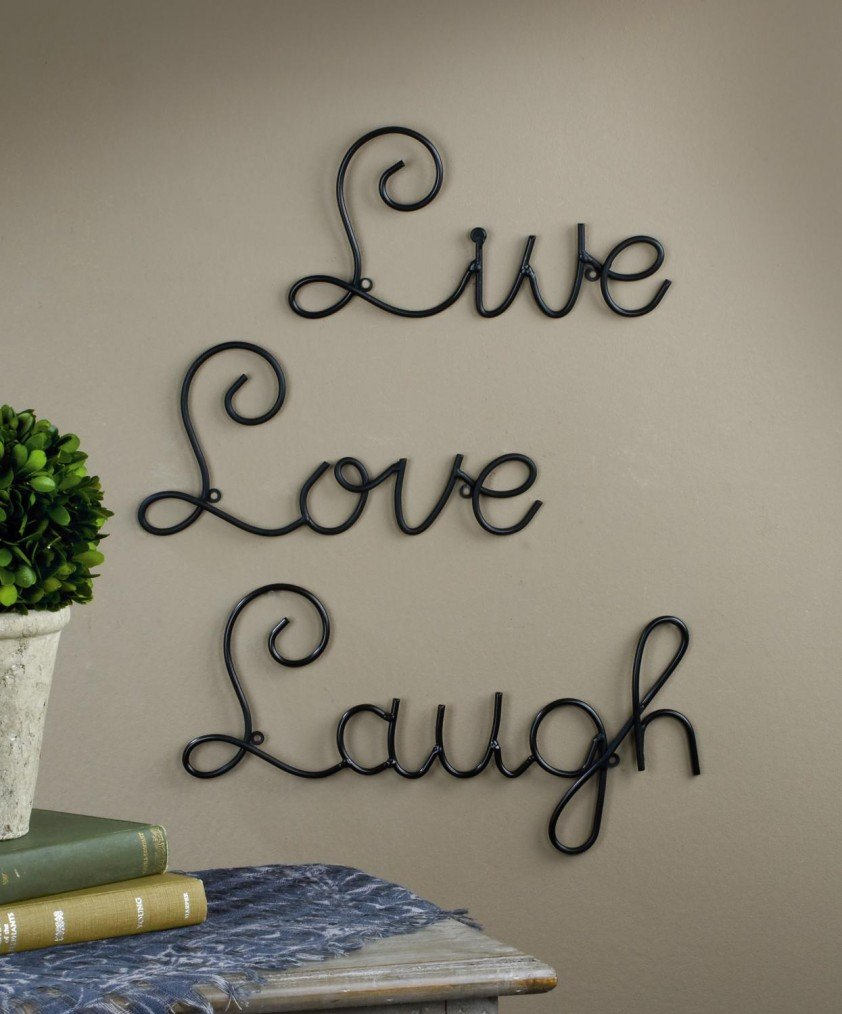 Amazon live love laugh set 3 wall mount metal wall word amazon live love laugh set 3 wall mount metal wall word sculpture wall decor by super z outlet home kitchen amipublicfo Image collections