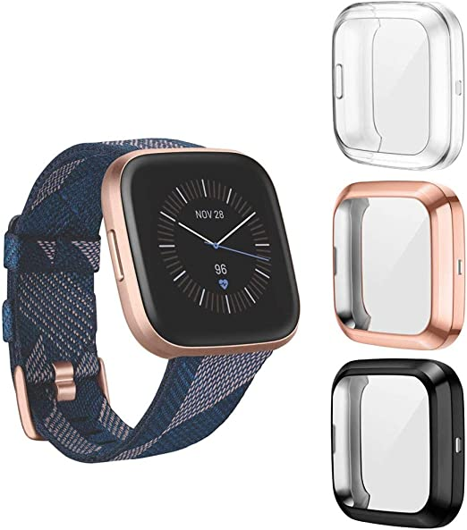 Amazon Com Suoman 3 Pack For Fitbit Versa 2 Case All Around Protective Tpu Bumper Cover Screen Portector Case For Fitbit Versa 2 Smartwatch Not Fit For Versa Lite Se Black Rose Gold Clear