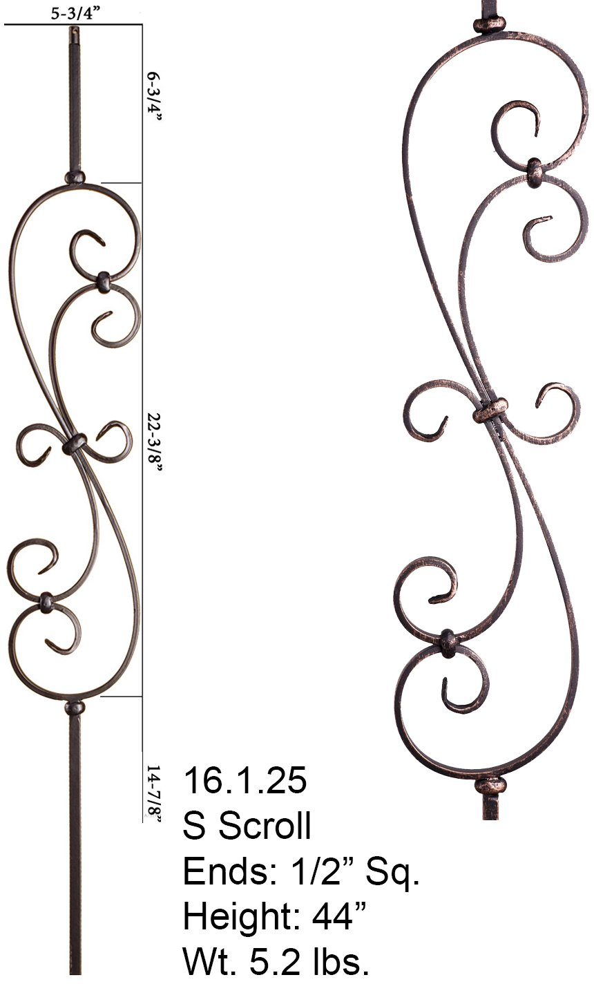 Oil Rubbed Bronze 16.1.25 S-Scroll Iron Baluster for Staircase Remodel , Box of 5 by House of Forgings