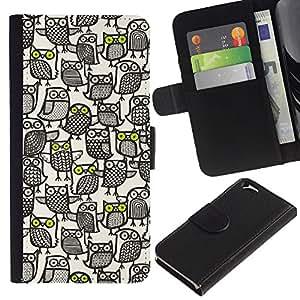 EJOY---La carpeta del tirón la caja de cuero de alta calidad de la PU Caso protector / Apple Iphone 6 / --Patrón de búho Ocupado Arte Blanco Pen Negro