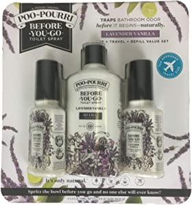 Poo-Pourri Before-You-Go Toilet Spray Extra Value Pack (2) 3.4 Ounce Bottle and 9 Ounce Refill Value Size Bottle, Lavender Vanilla