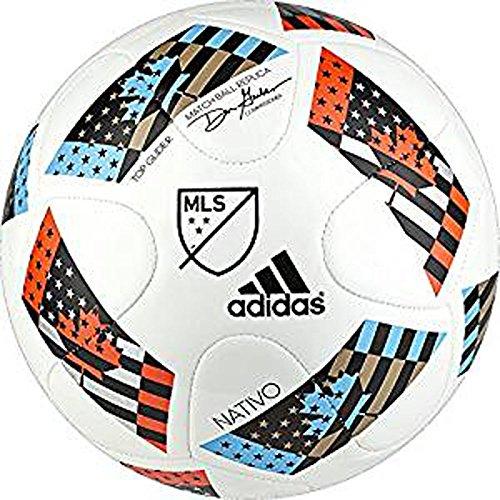 adidas Performance 2016 MLS Top Glider Soccer Ball, White/Shock Blue/Black, 5 High Five Soccer