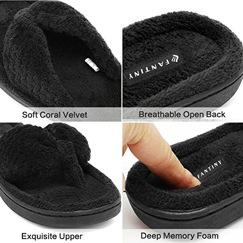 CIOR Fantiny Women's Cozy Memory Foam Spa Thong Flip Flops House Indoor Slippers Plush Gridding Velvet Lining Clog Style