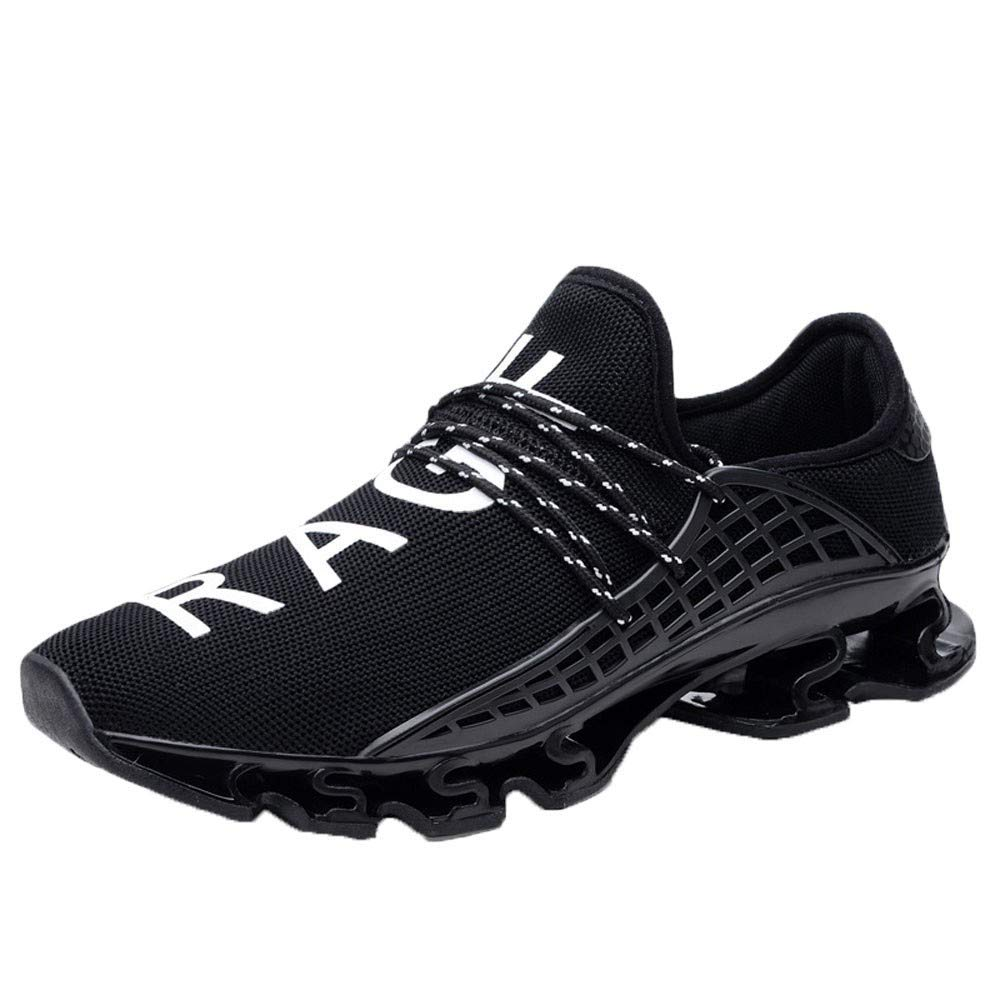 NUWFOR Men Elastic Mesh Sneakers Casual Sport Athletic Breathable Running Shoes Outdoor(Black,8.5 M US Length:10.1'')
