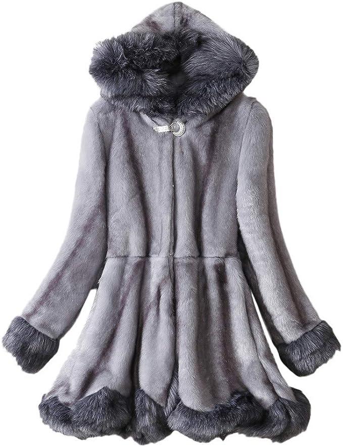 Fenverk Damen Mantel üBergangsmantel Winterjacke Wintermantel Lange Daunenjacke Jacke Outwear Winter Warm Trenchcoat Pelzkragen Parka Frau Kapuze