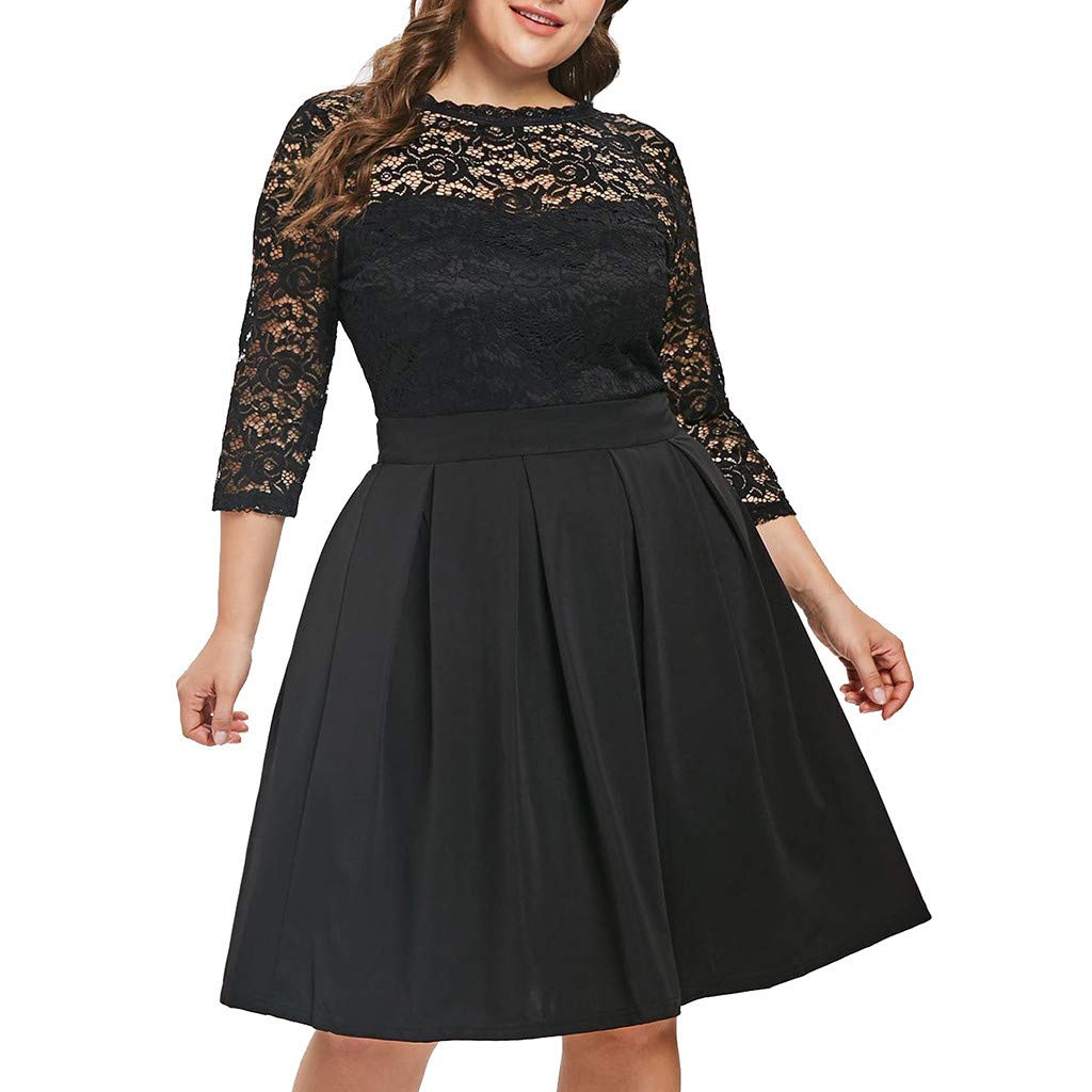 Sttech1 Women O-Neck Solid 3/4 Sleeve Lace Patchwork Plus Size A-Line Dress for Oversized Ladies Black