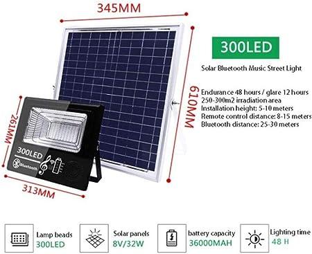 Foco Proyector Solar Exterior,Luz De Inundación Altavoz Bluetooth Inteligente Luces De Seguridad Para El Hogar A Prueba Agua Jardín,Super Brillante Nueva Rural Luz De Calle[Clase Energética A +++]: Amazon.es: Hogar