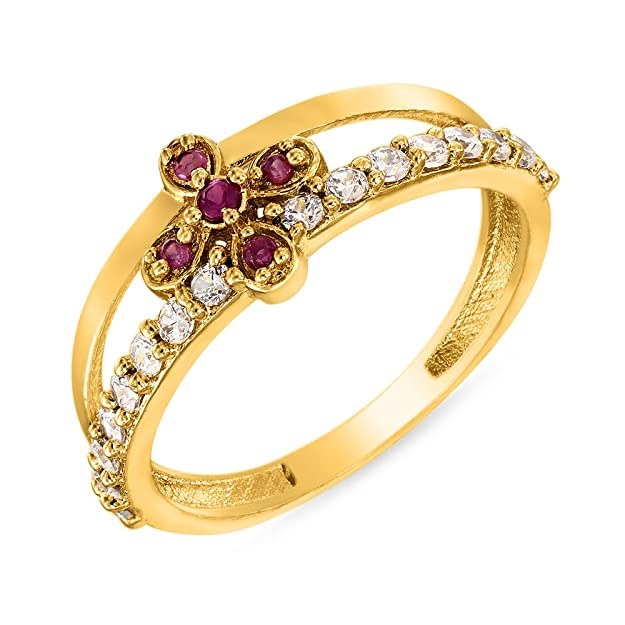 Mahi Ruby & CZ 24K Gold Plated Fashion Finger Ring for Women FR1100295G Women's Rings at amazon