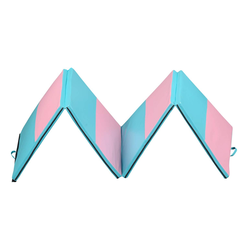 ZENOVA 折りたたみエクササイズマット 4フィートx10フィート キャリーハンドル付き フォームパッドパネル 体操 コアワークアウト ホーム体操 タンブリングマット マルチカラー ピンク&青 straight