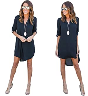 Joseph Costume Women Casual Loose Irregular Long Sleeve Chiffon T-shirt Tunic Dress
