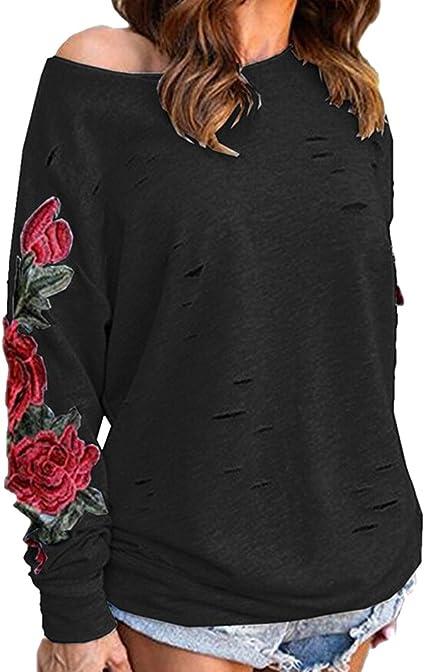 Sudaderas Mujer Sudadera Bordado Flores sin Capucha Chica Oversize Pullover Sin Hombros Juveniles Camisas Camisetas Manga Larga Chicas Anchas Grandes Invierno Suéter Jersey Vintage