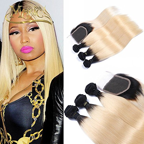Wicca Ombre Blonde Hair Extensions 1B/613 Brazilian Honey Blonde Human Hair Bundles with Closure 3 Bundles with Lace Closure Silk Straight Dark Roots Hair Weaving(10 12 14 with 10 inches)