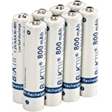 BAKTH 800mAh 1.2V AAA High Performance NiMH Cycle Pre-Charged Low Self-Discharge Rechargeable Batteries for Toys Cordless Phones and more Household Devices (8-Pack)