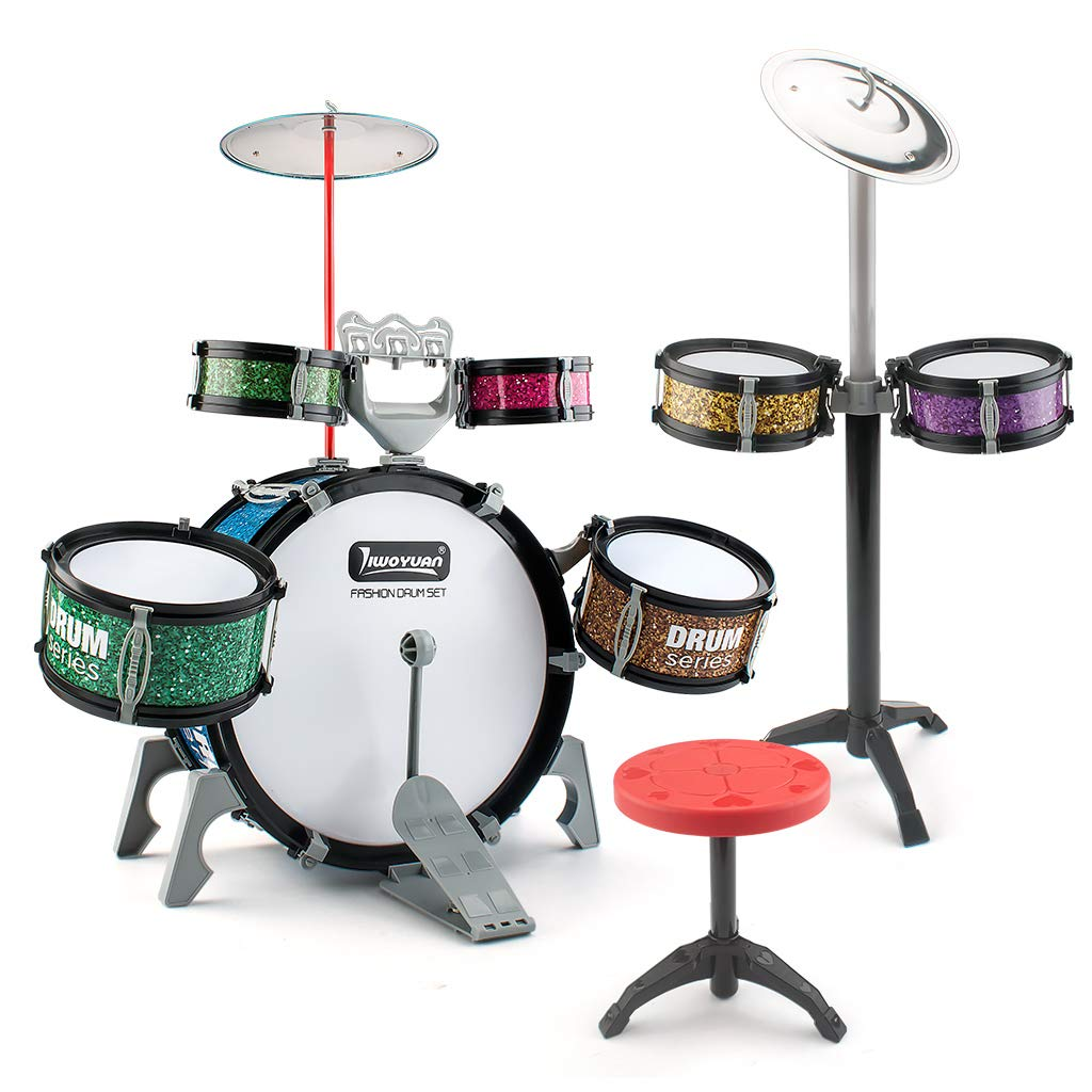 EAHUMM 14 Pieces Kids Jazz Drum Set-7 Drums, 2 Cymbals, 2 Drumsticks, Chair, Kick Pedal,-Musical Instrument Kit for Babies , Gift Toy for Kids, Boys & Girls.