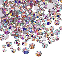 3456 Pieces Nail Crystals AB Nail Art Rhinestones Round Beads Flatback Glass Charms Gems Stones, 6 Sizes for Nails Decoration Makeup Clothes Shoes(Crystal AB, Mix SS3 4 5 6 8 10)