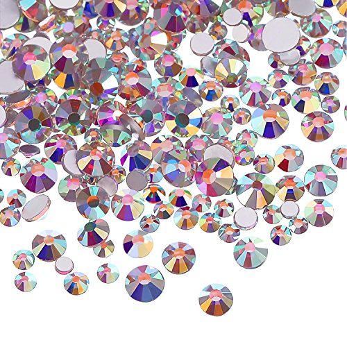 3456 Pieces Nail Crystals AB Nail Art Rhinestones Round Beads Flatback Glass Charms Gems Stones, 6 Sizes for Nails…