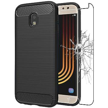 ebestStar - Compatible Funda Samsung J7 2017 Galaxy SM-J730F Carcasa Silicona Gel, Protección Diseño Fibra Carbono Premium Ultra Slim Case, Negro + ...