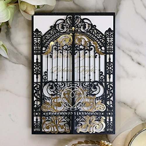 Victorian Gate (Wedding Invitations, Black Victorian Gates with Foil, Perfect for Weddings, Engagement, Bridal Shower Party by B Wedding Invitations, (IWP16051-F))