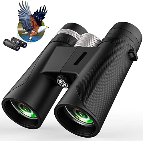 12×42 Binoculars for Adults Compact,Low Light Night Vision Binoculars with BAK4 FMC Lens, Lightweight Small Binoculars for Bird Watching Hunting Travel Sports