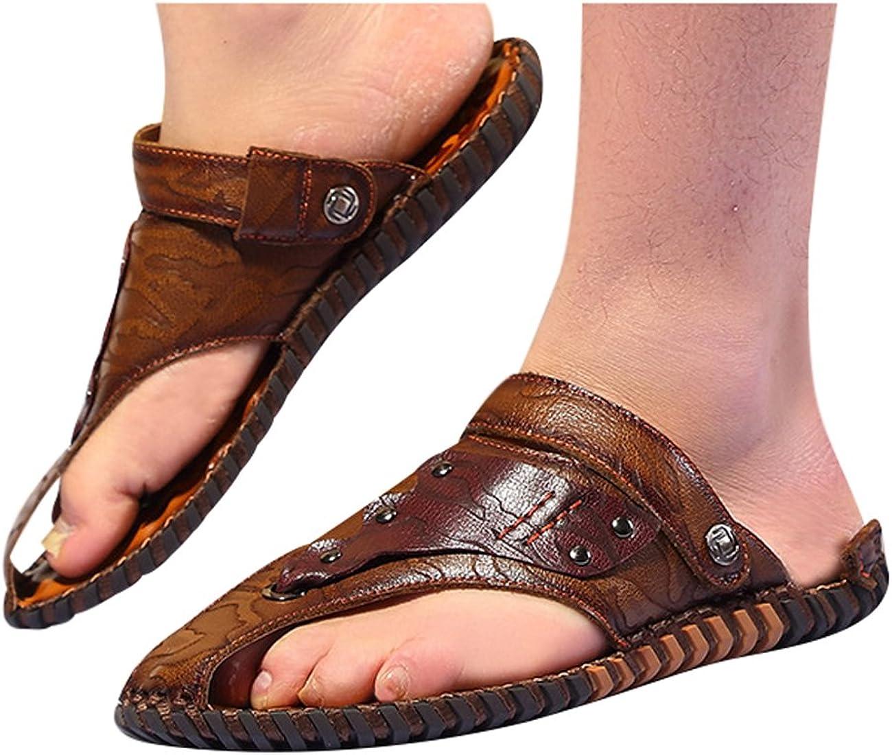 Zoulee Mens Summer Flip Flop Leather Beach Sandals