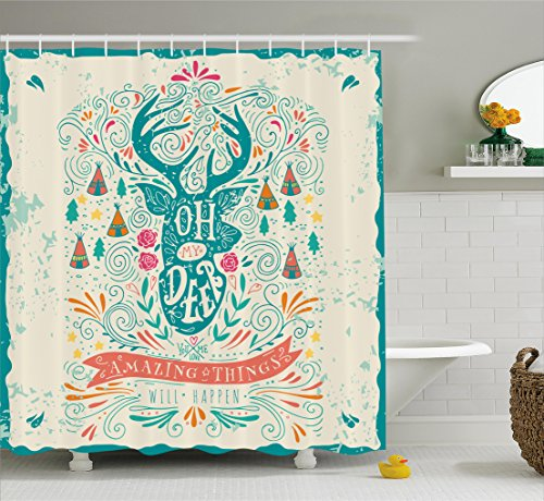 Ambesonne Vintage Decor Shower Curtain, Reindeer with Antlers with Native American Tribal Element and Flowers Motivational, Fabric Bathroom Decor Set with Hooks, 70 Inches, Multi