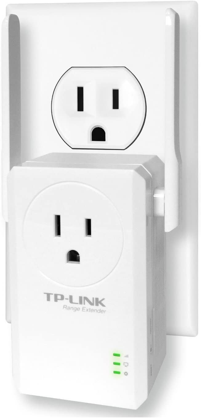 TP-Link N300 Wi-Fi Range Extender with Pass-Through Outlet (TL-WA860RE),White