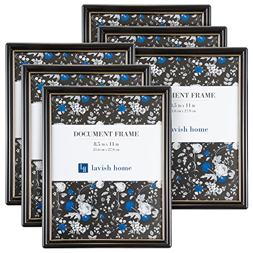 Lavish Home Picture Frame Set, 8.5 x 11 Document Frame Pack for Picture Gallery Wall with Hangers, Set of 6