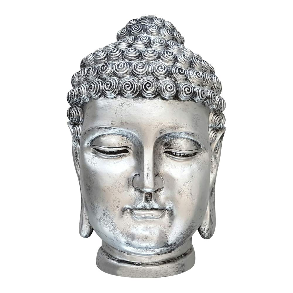 Dasmöbelwerk Buddha Head Figurine Decorative Large Buddha Statue Decoration Feng Shui Thai Buddha Sculpture LOTUS GARDEN ORNAMENT Frost S081 6 Colours