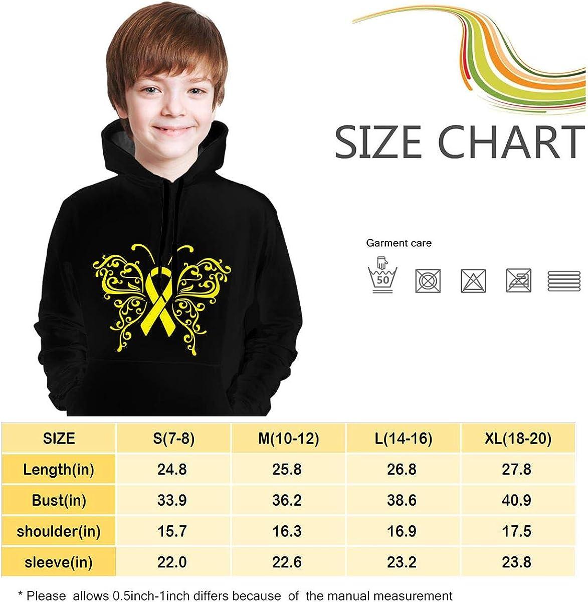 MAOYI/&J6 Ribbon Butterflies Sarcoma Bone Cancer Teens Boys Girls Long Sleeve Hoodie Outerwears for Winter Sweatshirt