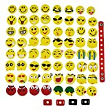 XHAOYEAHX Pack of 64 Smile Face Emoji Shoe Charms Jibbitz Emoticons Fits for Croc Shoes & Wristband Bracelet + 4Pcs Shoe Lace Adapter + 1Pcs 7.08in Silicone Bracelet Birthday Emojiland Party Gifts
