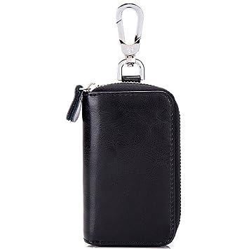 esdrem Unisex coche caso clave Holder con 8 ganchos para llaves coche Llavero tipo cartera con cremallera de piel auténtica, color negro