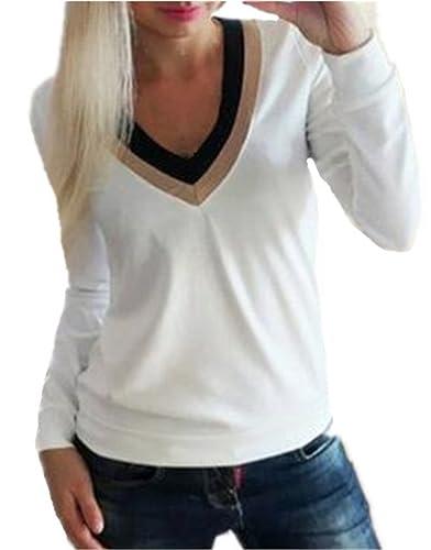 Tayaho Camiseta Mujer Blusa Manga Larga Patchwork Camiseta Corto Cuello V Camisa Oficina Clasicos T-...