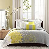 6 Piece Stunning Grey Yellow White King Coverlet Set, Stylish Contemporary Floral Themed Bedding Sunny Slate Modern Gorgeous Summer Lily Pretty Slate Teal Trendy Beautiful, Cotton