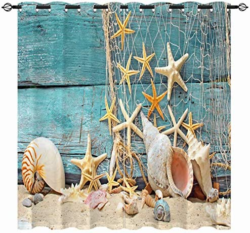 ANHOPE Seashell Starfish Blackout Curtains