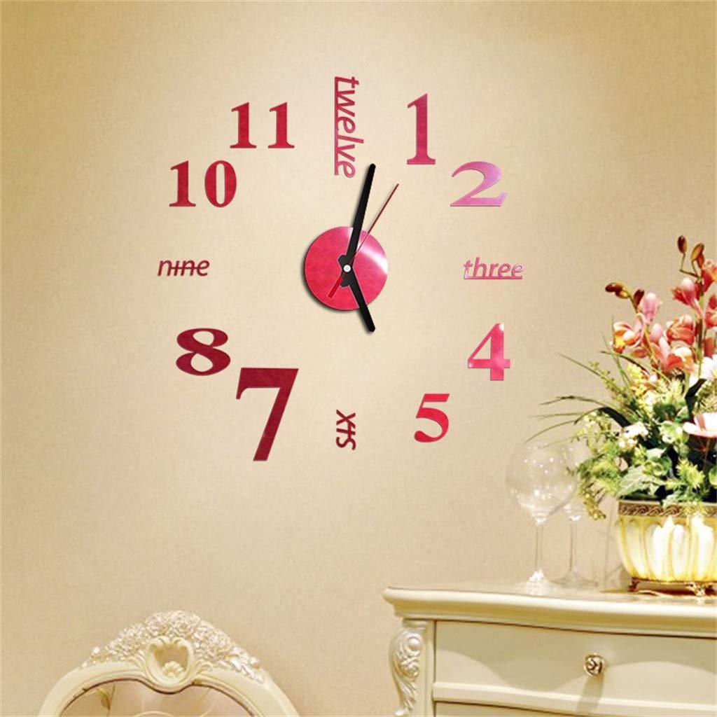 3D DIY Roman Numbers Acrylic Mirror Wall Sticker Clock Home Decor Mural Decals Minimalist Digital Wall Sticker Clock