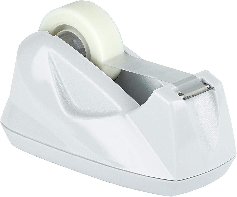 Acrimet Premium Desktop Tape Dispenser Non-Skid Base (Heavy Duty) (White Color)