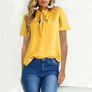 SKNSM Ropa de mujeres Camiseta de manga corta con diseño de moda de mujer amarilla Top (L) (Color : As Shown, tamaño : Talla única): Amazon.es: Ropa y ...