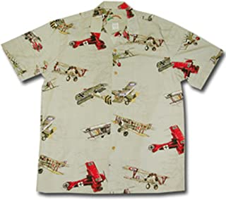 product image for Paradise Found Mens Fighter Airplane WWI Shirt Khaki S