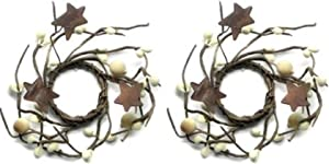"4"" Pip Berries Mini Wreath Candle Ring Set Primitive Country Home Decor, 1"" Inner, Bay Cove"