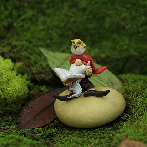Top Collection Miniature Fairy Garden and Terrarium Gnome Reading Book with Owl Statue